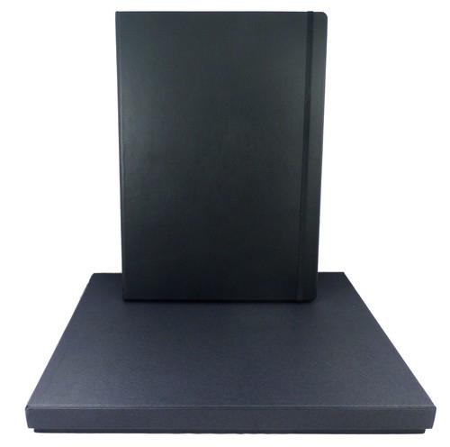 Leather Notebook Master czarny kratka