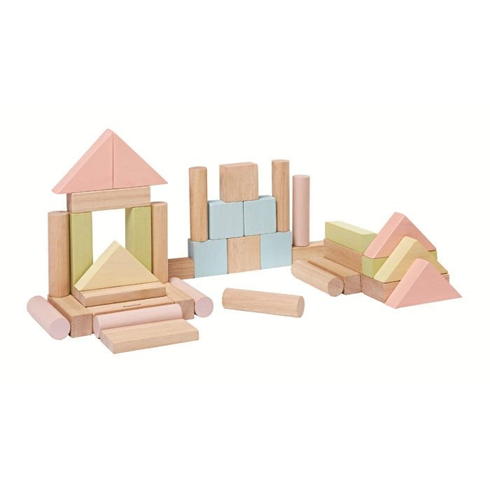 Pastelowe klocki drewniane, 40 elementów (PLTO-5507)