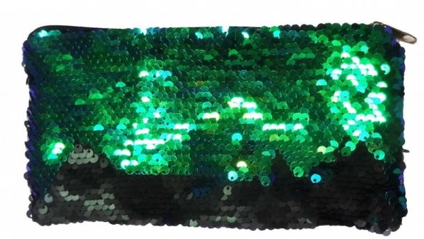 Piórnik cekinowy zielono-czarny (STN1524)