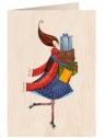 Karnet drewniany C6 + koperta Święta Kobieta z prezentami