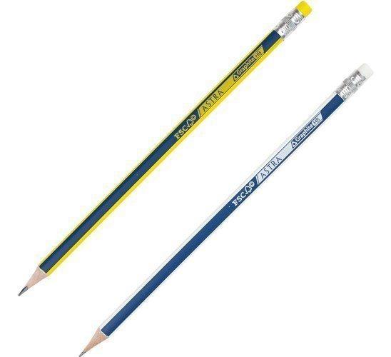 Ołówki grafitowe HB z gumką, 4szt. + temperówka, nakładka Astra (206120009)