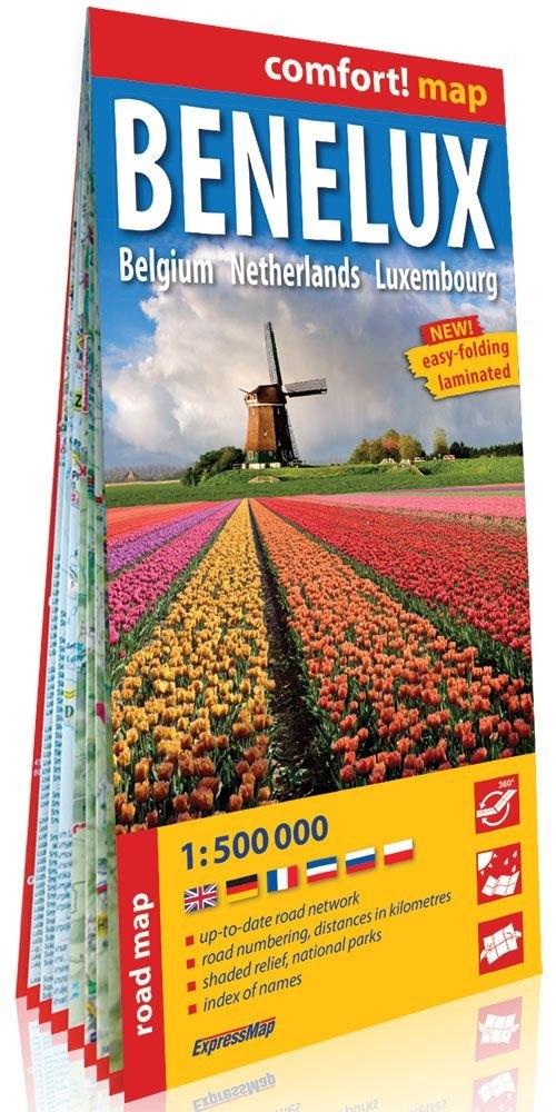 Benelux Belgia Holandia Luksemburg  (Benelux. Belgium, Netherlands, Luxembourg); laminowana mapa praca zbiorowa