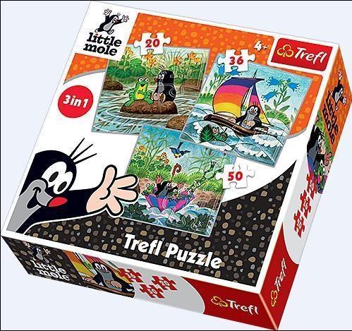 Puzzle  Krecik - Zabawy w wodzie - Puzzle 3w1 (34186)