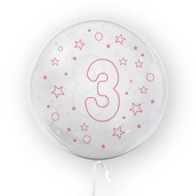 Balon Tuban 45cm cyfra 3 - Gwiazdki, różowy (TB 3686)