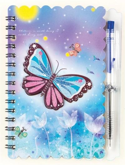 Notes na spirali z długopisem Butterfly 30K
