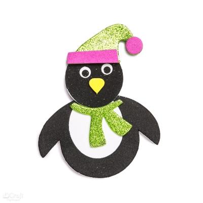 Zestaw kreatywny - pingwin z pianki z brokatem, 6 szt (KSPI-127) .