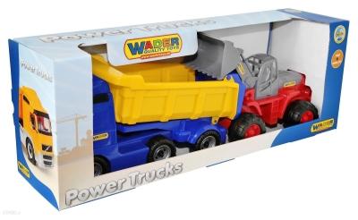 Samochód Wader-Polesie wywrotka z naczepą + traktor ładowarka (36872)