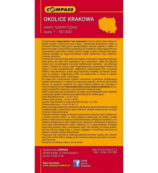 Szlaki i trasy rowerowe okolic Krakowa, 1:50 000 - mapa turystyczna (1541-2020) praca zbiorowa