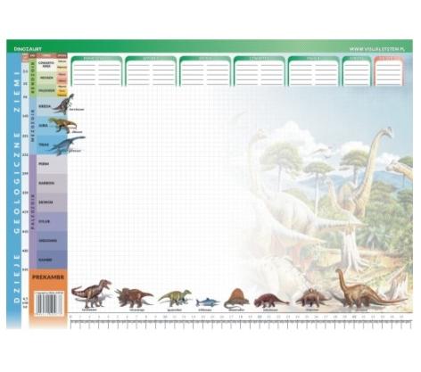 Dinozaury - podkład na biurko dla ucznia