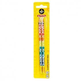 Ołówki trójkątne HB, 2 szt. - SmileyWorld Raibow