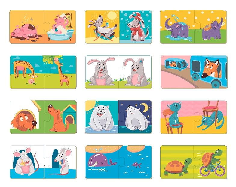 Puzzle 12x2: Przeciwieństwa - zwierzęta (DOP300151)