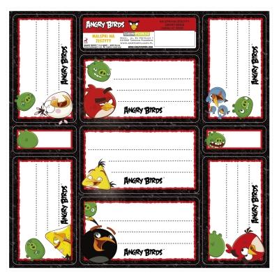 Nalepki na zeszyty Angry Birds .