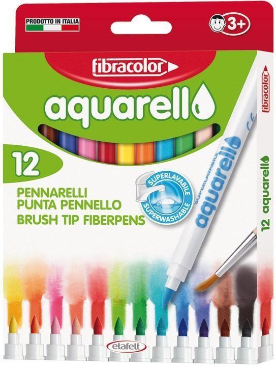 Mazaki Aquarello wodne 12 kolorów FIBRACOLOR