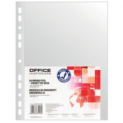 Koszulki na dokumenty Office Products groszkowe A4 kolor: przezroczysty typu U 30 mic. (21141115-90)