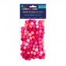 Pompony poliestrowe 1 cm mix różowy, 120 szt. (KSPO-027)