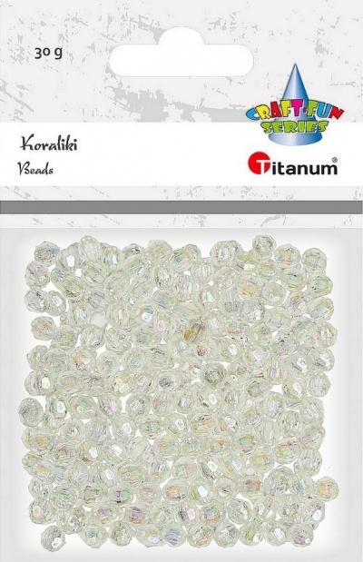 Koraliki plastikowe fasetowane 30g białe