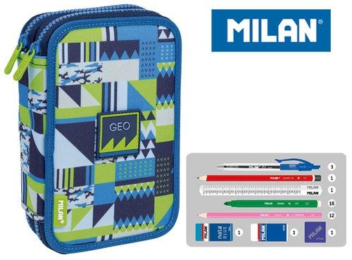 Piórnik MILAN 2-poziomowy z wyposażeniem NEW GEO niebieski