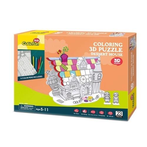 Puzzle 3D: Zestaw do kolorowania - domek na pustyni (306-20688)
