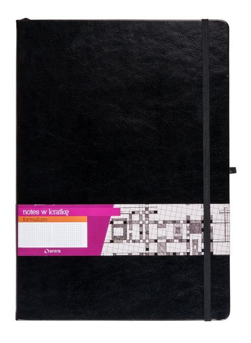 Notes A5 z gumką Formalizm kratka czarny