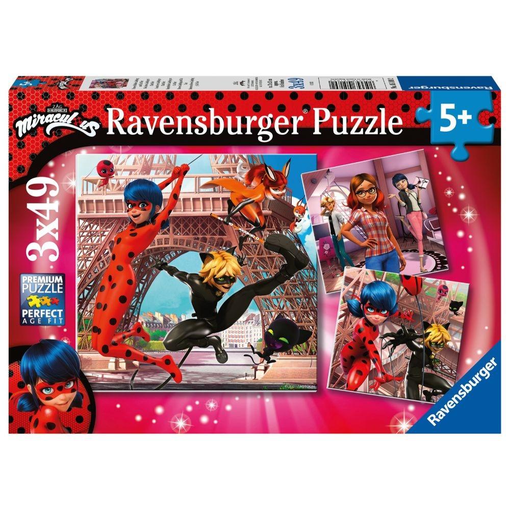 Ravensburger, Puzzle 3x49: Miraculum: Biedronka i Czarny Kot (05189) 0