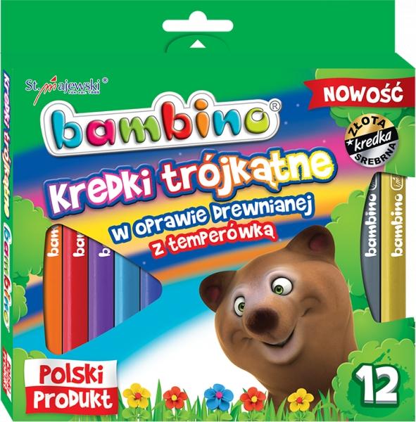 Kredki Bambino drewniane trójkątne 12 kolorów + temperówka