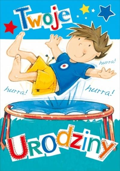 Karnet Twoje Urodziny chłopiec na trampolinie K.B6-1307
