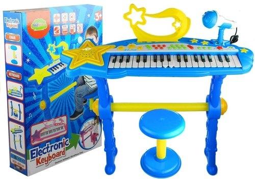 Keyboard na nóżkach + stołek + mikrofon niebieski