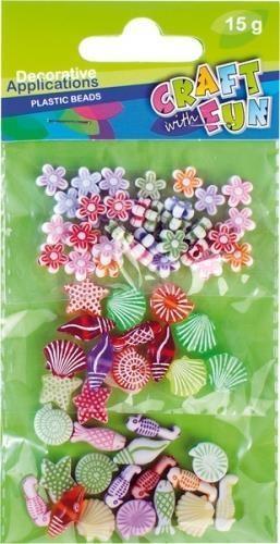 Ozdoba dekoracyjna koraliki plastikowe 3x mix