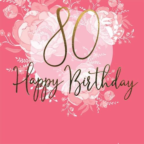 Karnet Swarovski kwadrat Urodziny 80