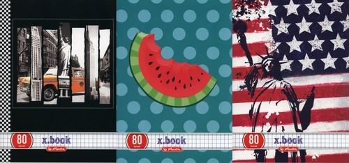 Zeszyt A5 x.book w kratkę 80 kartek 5 sztuk mix