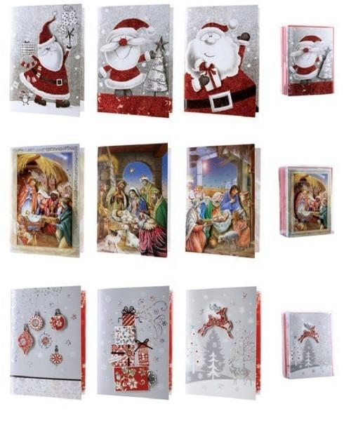 Karnet Boże Narodzenie A5 grający 3D 12 sztuk mix