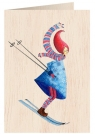 Karnet drewniany C6 + koperta Święta Kobieta na nartach