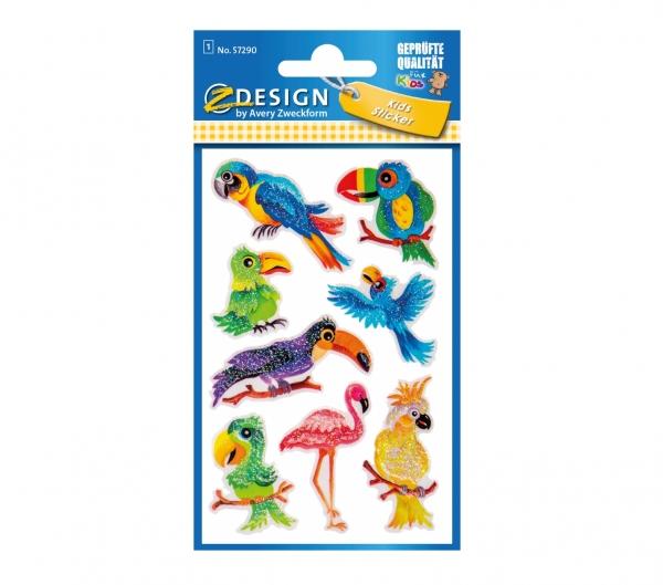 Naklejki brokatowe - Ptaki (57290)