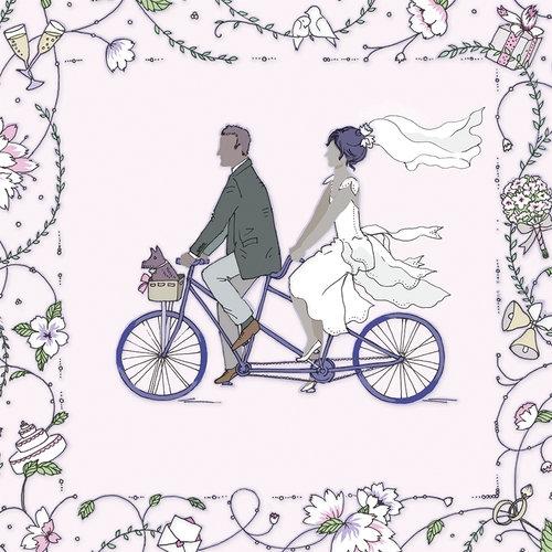 Karnet Swarovski kwadrat Ślub para młoda na rowerze