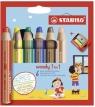 Kredki Woody 3w1 - 6 kolory + temperówka