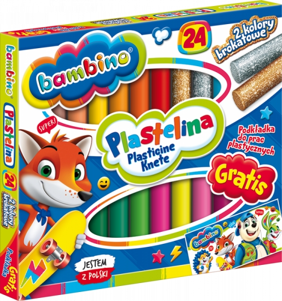 Plastelina Bambino, 24 kolory - podkładka GRATIS (252503)