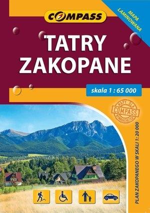 Tatry, Zakopane. Laminowana mapa kieszonkowa w skali 1:65 000 praca zbiorowa