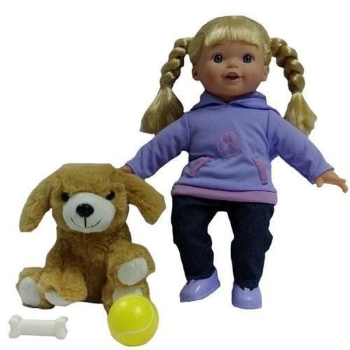 Lalka Julka z pieskiem fioletowa
