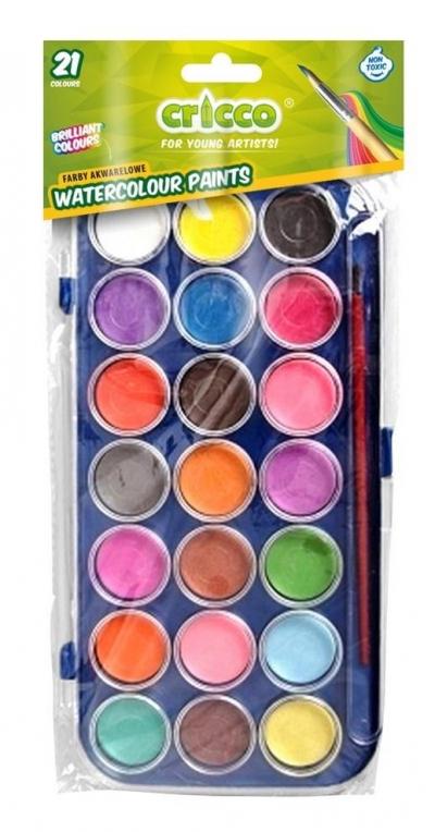 Farby akwarelowe Cricco, 21 kolorów (CR360K21)