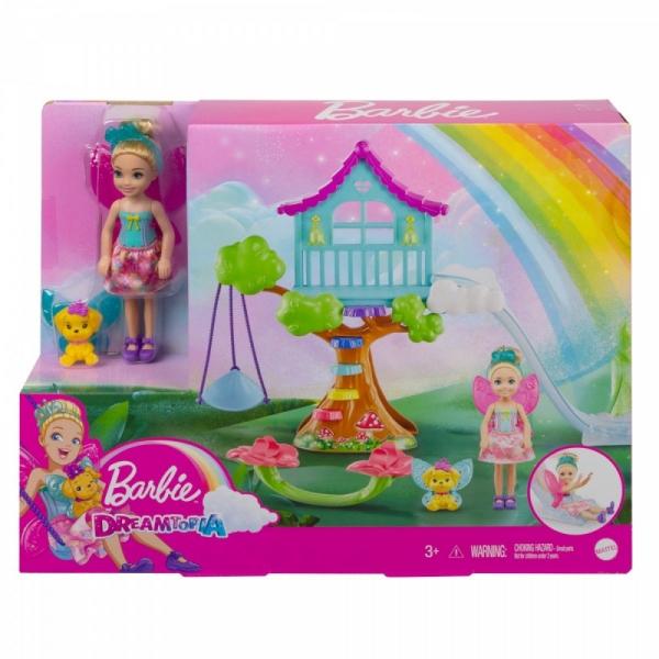 Lalka Barbie Chelsea Fantazja Domek na drzewie (GTF48/GTF49)