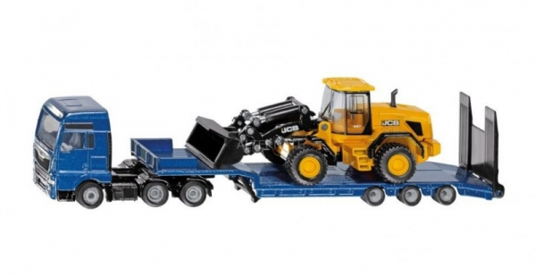 Ciężarówka MAN z lawetą i ładowarką kołową JCB (S1790)