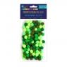 Pompony poliestrowe 1 cm mix zielony, 120 szt. (KSPO-029)