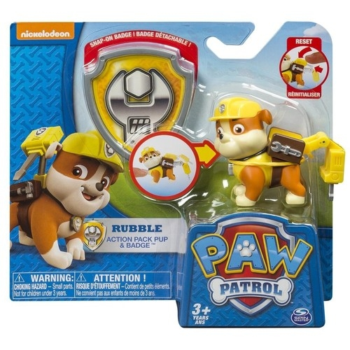 Psi Patrol figurka Rubble z odznaką