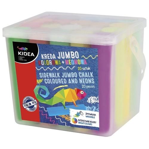 Kreda Jumbo kolorowa + neonowa, 20 sztuk (DRF-068906)