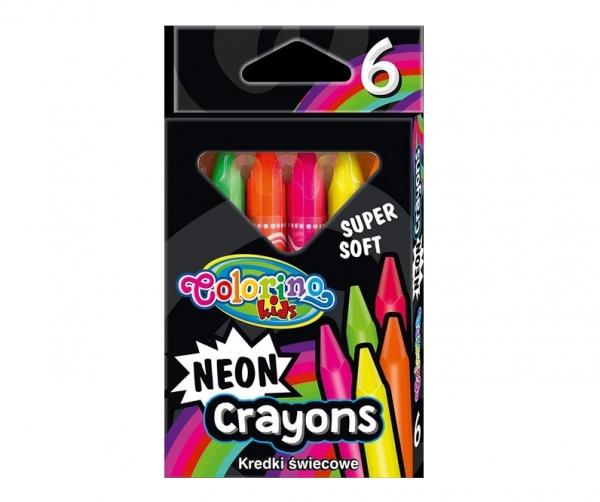 Kredki świecowe Colorino Kids neon trójkątne, 6 kolorów (92050PTR)