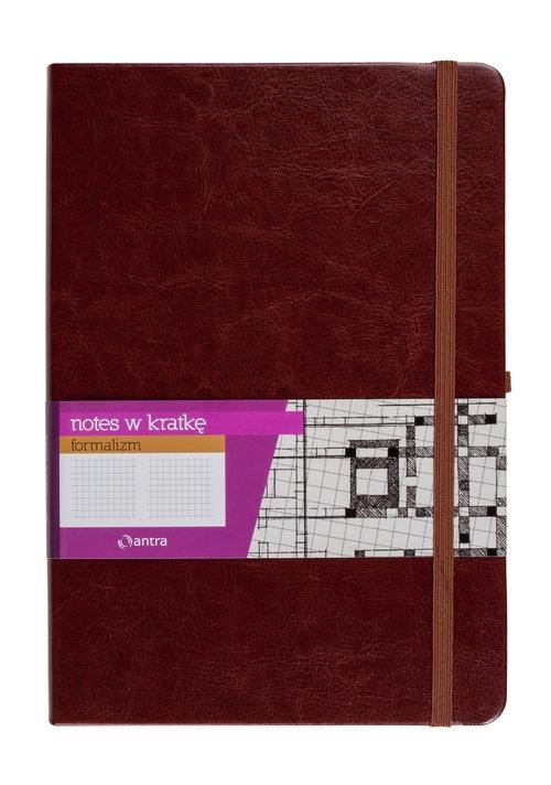 Notes A5 z gumką Formalizm kratka brązowy