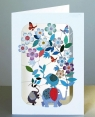 Karnet PM209 wycinany + koperta Słonie z kwiatami
