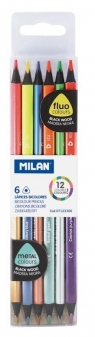 Kredki Bicolor fluo/metalizowane 12 kolorów MILAN