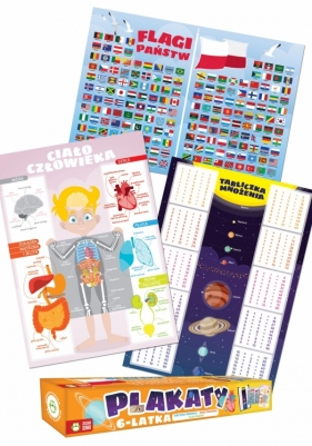 Plakaty 6-Latka: Flagi państw. Tabliczka mnożenia. Ciało człowieka