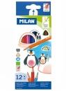 Kredki ołówkowe Milan 231 trójkątne, 12 kolorów w kartonowym opakowaniu (0722312)